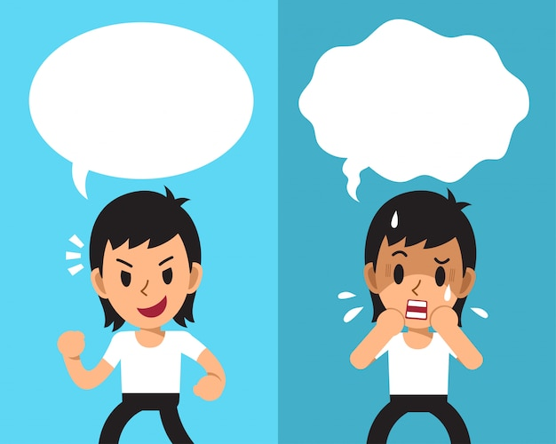 Cartoon a man expressing different emotions with white speech bubbles