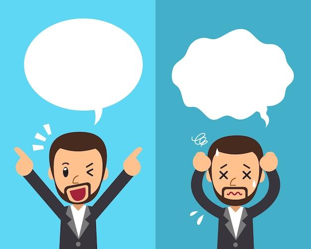 Cartoon man expressing different emotions