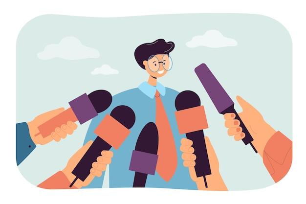 Uomo del fumetto che dà parere alla stampa pubblica. mani che tengono microfoni, ragazzo che fa interviste o commenti illustrazione piatta