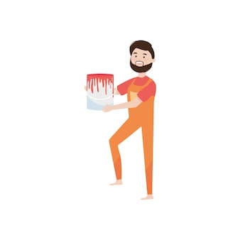 Cartoon man holding a paint can over white background