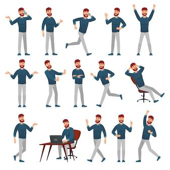 カジュアルな服装の漫画男。さまざまなポーズの男性キャラクター、歩く人、立っている人のベクトルイラストセット