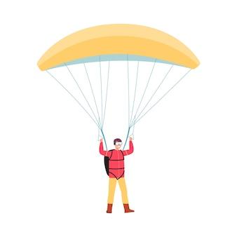 黄色のパラシュートでジャンプし、白い背景-完全なパラシュート装置で立っている極端なスポーツ愛好家に笑みを浮かべて漫画男。図