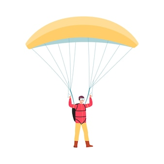 Cartoon man jumping with yellow parachute and smiling  on white background - extreme sport lover standing with full parachuting equipment.   illustration
