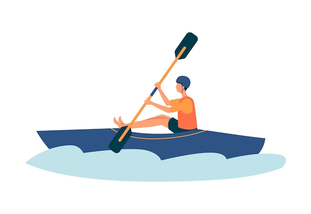 Cartoon man kayaking in river in blue kayak -  athlete doing extreme sport activity wearing safety vest and helmet.   illustration on white background.