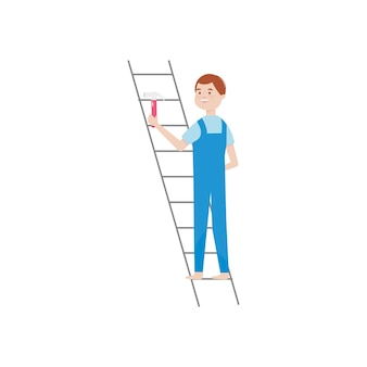 Cartoon man on a ladder holding a hammer over white background