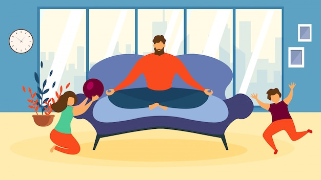 Cartoon man meditate on sofa, children play game indoors living room illustration