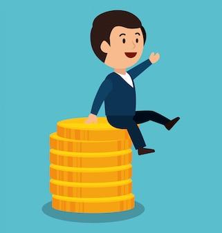 Cartoon man money earnings design isolated