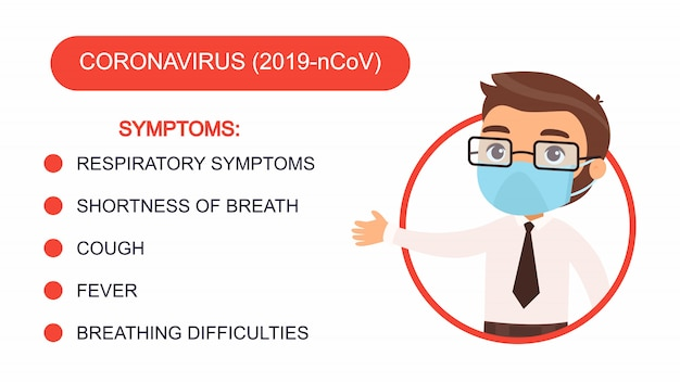 Cartoon man in an office suit points to a list of coronavirus symptoms. character with a protective mask on his face. virus protection infographics.