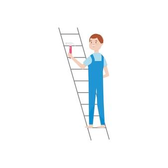 白い背景の上にハンマーを保持しているはしごの漫画の男