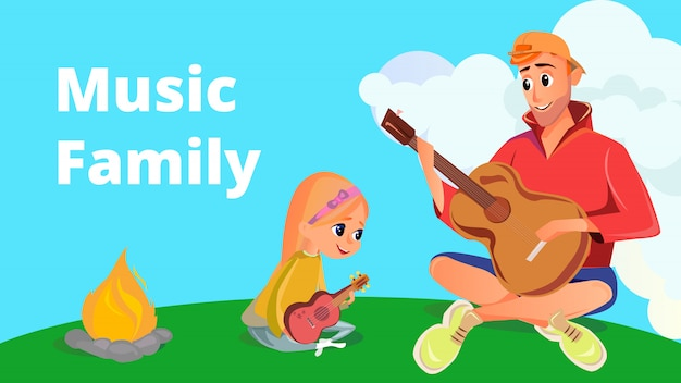 Cartoon man play acoustic guitar girl with ukulele