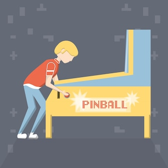 Cartoon man playing on pinball arcade game