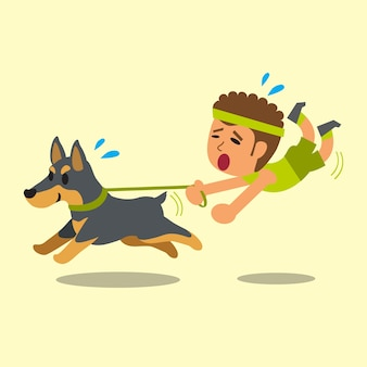 Cartoon man pulled by his doberman dog