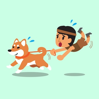 Cartoon man pulled by his shiba inu dog