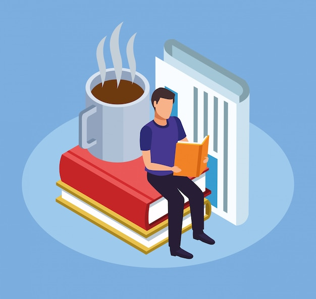 Cartoon man reading a book sitting on stack of big books and hot coffee mug on blue