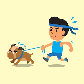 Cartoon man running with his bulldog