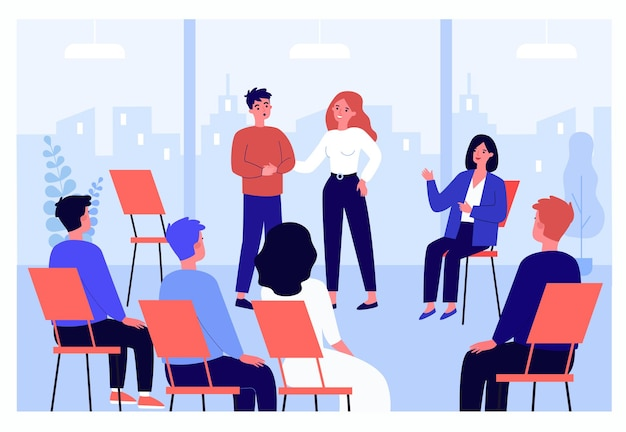 Cartoon man sharing problems in group therapy. people sitting in circle and consulting with therapist flat vector illustration. psychology, support, mental health concept for banner, website design