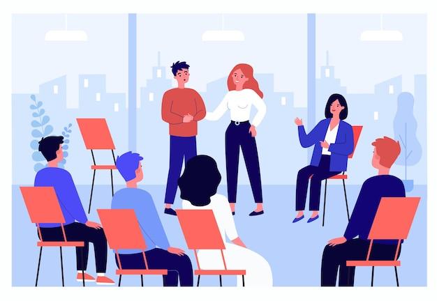 그룹 치료에서 문제를 공유하는 만화 남자. 원에 앉아 치료사와 상담하는 사람들은 평평한 벡터 삽화를 가지고 있습니다. 배너, 웹사이트 디자인을 위한 심리학, 지원, 정신 건강 개념
