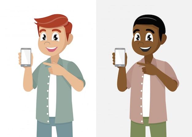 Cartoon man showing phone screen