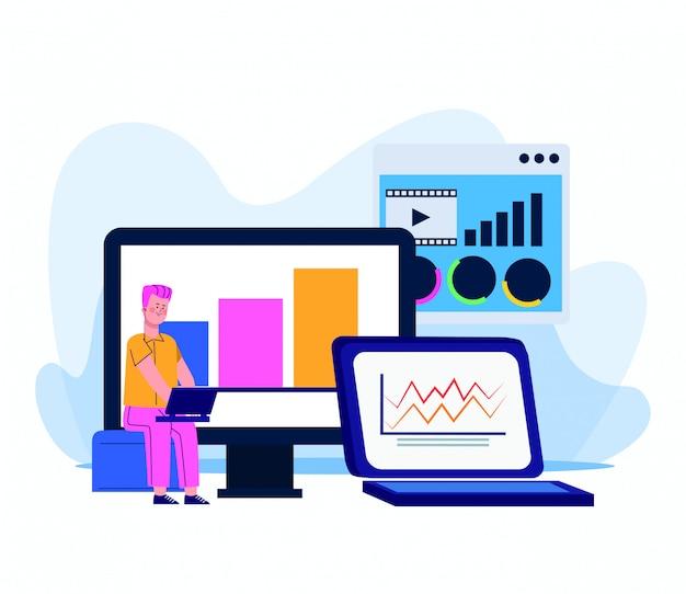 Мультфильм человек сидит и с помощью ноутбука и компьютеров с графическими диаграммами на белом