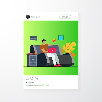 Cartoon man sitting at home with laptop isolated flat vector illustration. young businessman on sofa with computer