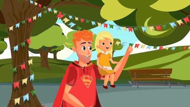 Cartoon man in superhero costume hold girl in park