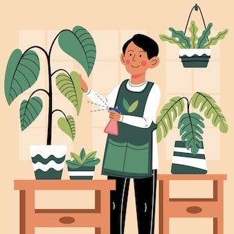 植物の世話をする漫画の男