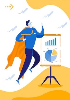 Cartoon man taking off to acieve business success.