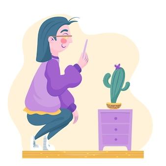 植物の写真を撮る漫画の男