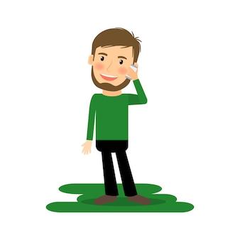 Мультфильм человек разговаривает по телефону