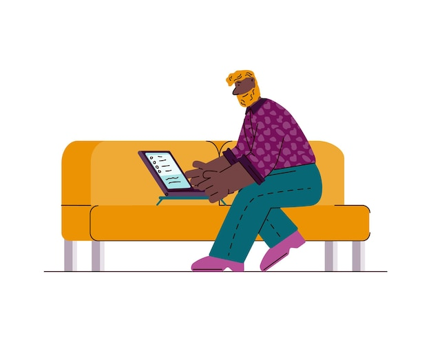 Мультяшный человек с помощью ноутбука, сидя на желтом диване