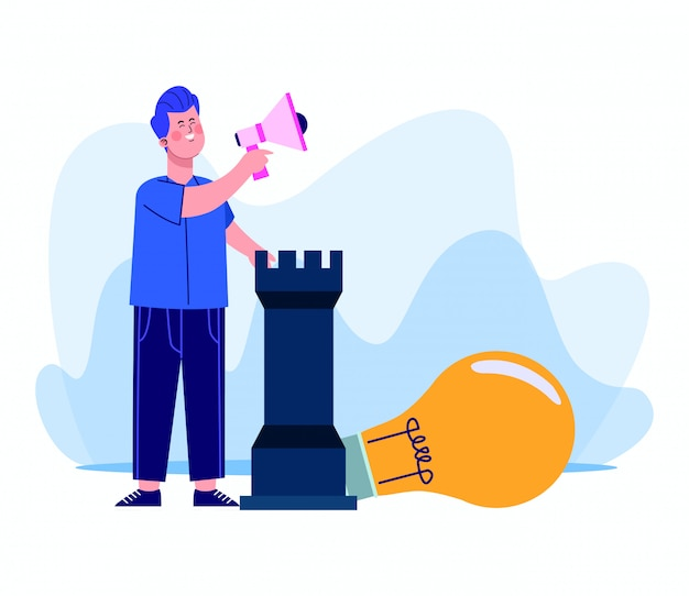 Cartoon man using a megaphone and big bulb light and chess piece on white