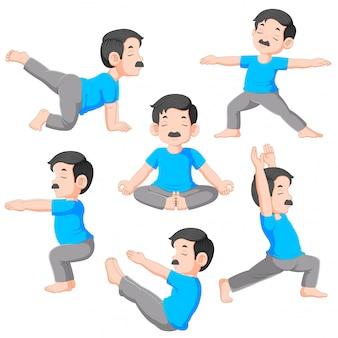 Cartoon man in various poses of yoga