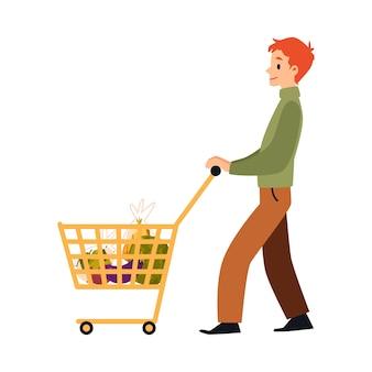 Cartoon man walking with full shopping cart full of food