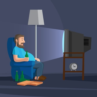 Cartoon man watching tv with bottle of beer vector illustration
