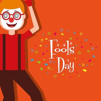 Cartoon man wearing clown mask glasses fools day