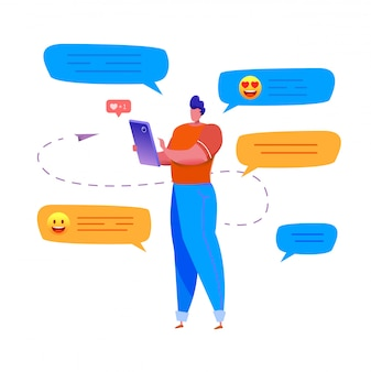 Cartoon man with chat bubbles around typing at smartphone sending message chatting with friends, with emoji and likes.