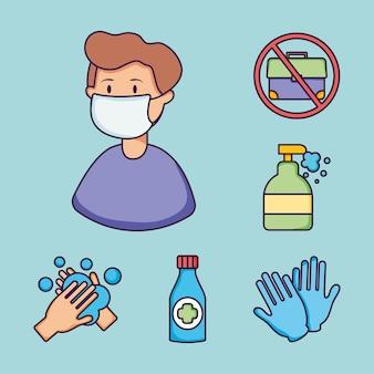 口マスクとコロナウイルス予防アイコンを設定した漫画の男