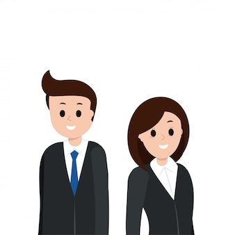 Cartoon man and woman in business suit