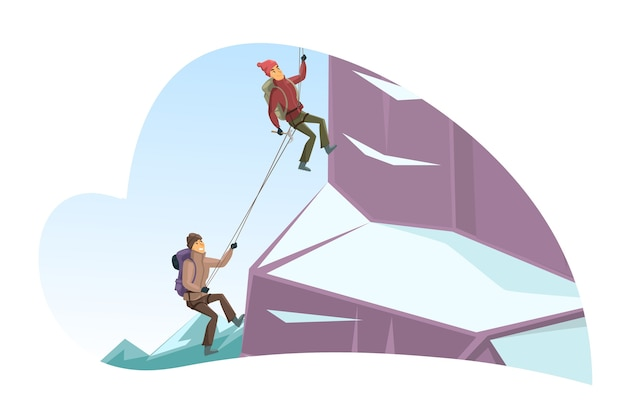 Cartoon man and woman characters climbing up cliff covered with snow