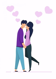 Cartoon man and woman characters in love kissing