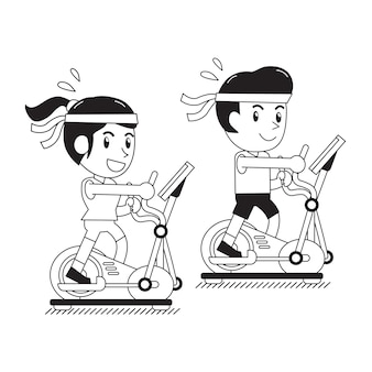 Cartoon a man and a woman exercising on elliptical machines