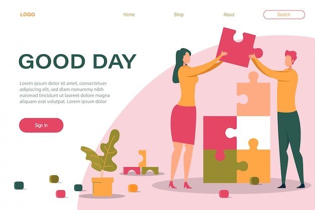 Cartoon man woman holding puzzle piece in hand landing page template