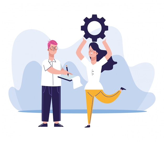 Cartoon man and woman holding up a gear wheel