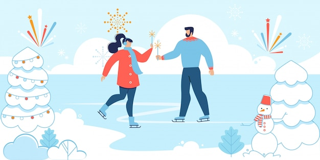 Cartoon man and woman in love skating on rink