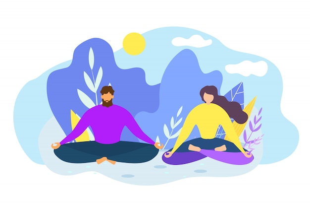 Cartoon man and woman meditate outdoors
