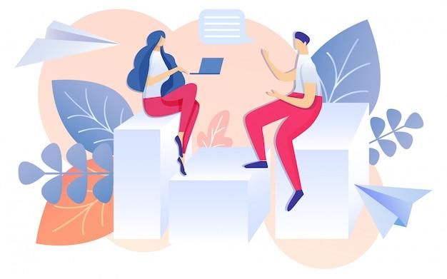 Cartoon man and woman sit on bar chart talking