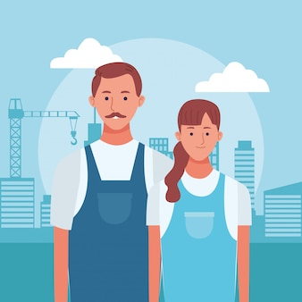 Cartoon man and woman standing over urban city buildings