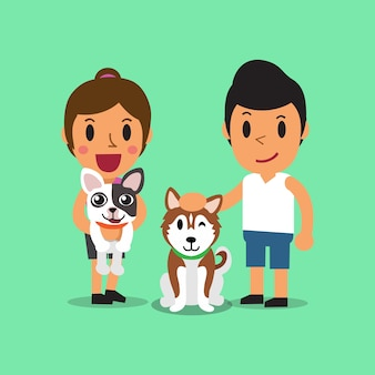 Cartoon man and woman with dogs