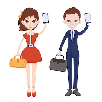 Cartoon man and woman with phones in their hands. woman in red dress with handbag. man in a business suit with a briefcase. one hand raised up and holding a smartphone.  illustration.