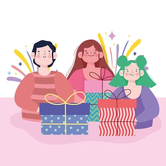 Cartoon man and women with gift boxes celebration vector illustration